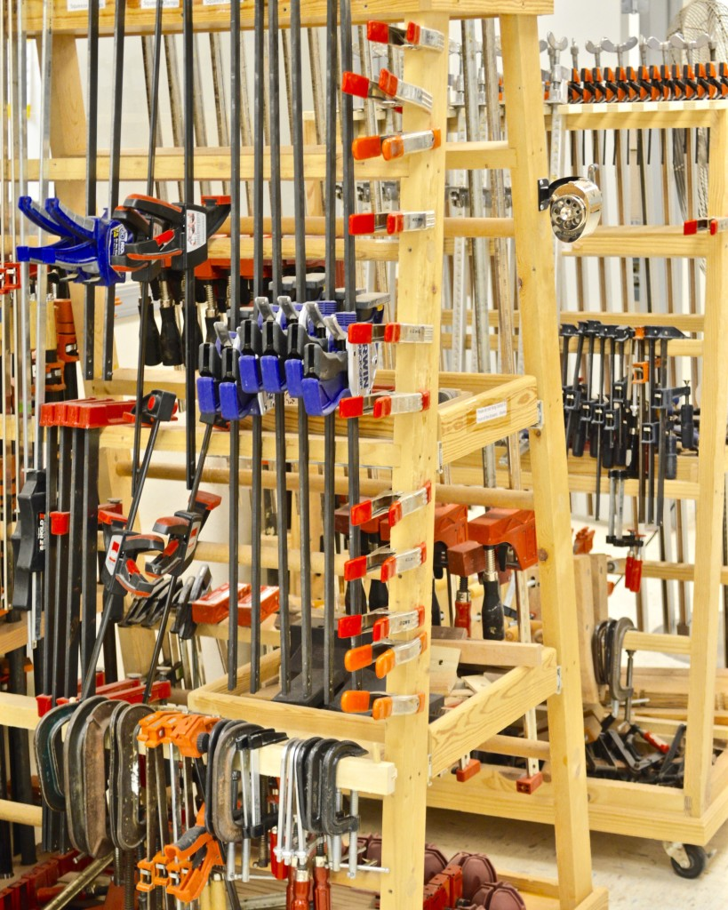 When gluing up your projects you might want to make use of some of the Shop's myriad clamps.  Shop rules prohibit glue-ups from remaining overnight.