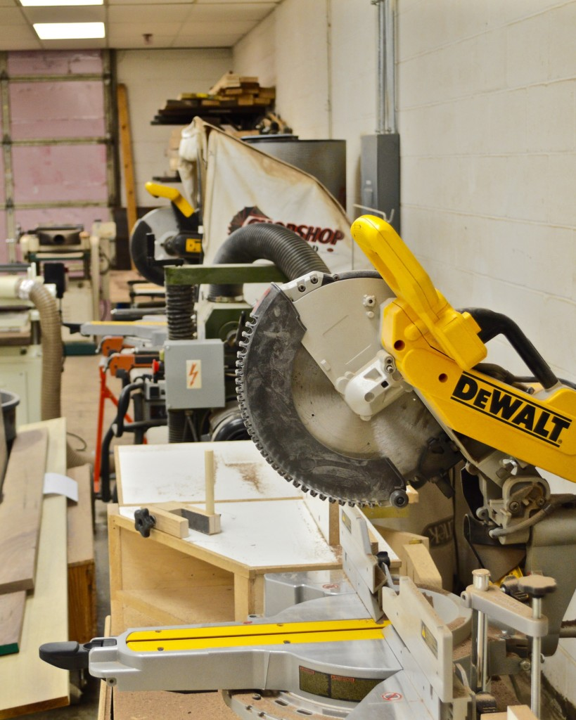 The Shop provides two large formal DeWalt sliding compound miter saws.