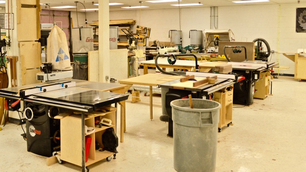 "The Guild features three SawStop table saws with their unique safety technology.  According to ""Woodworkers Journal"", """"Its blade braking technology makes this saw the safest saw on the market . . . .""  The shop features a variety of member-built sleds for consistency of cut."